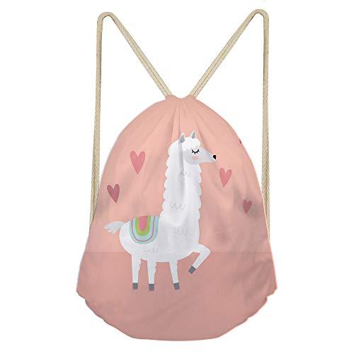 Showudesigns Drawstring Backpack for Women Beach Shopping Kids Children String Sack Gymbag for Outdoor Sport Alpaca Heart Pink