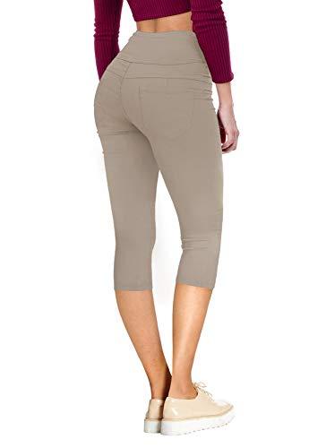 Hybrid & Company Women's Hyper Stretch Denim Capri Jeans Q45076 Khaki 5