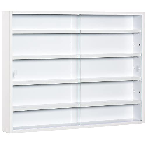HOMCOM 5-Tier Wall Display Shelf Unit Cabinet w/ 4 Adjustable Shelves Glass Doors Home Office Ornaments 60x80cm White