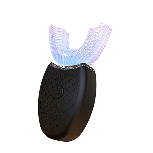 Vaorwne 360 Grad U Typ Automatische Elektrische ZahnbüRste Hoch Frequenz Ultraschall Vibration Blaues Licht Z?Hne Aufhellen Silikon BüRsten Kopf Schwarz