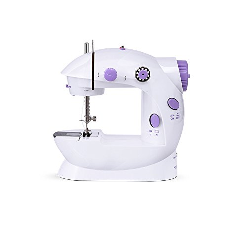 Portable Sewing, Tzsir Portable Sewing Double Speed Mini Sewing Machine White and Purple Design