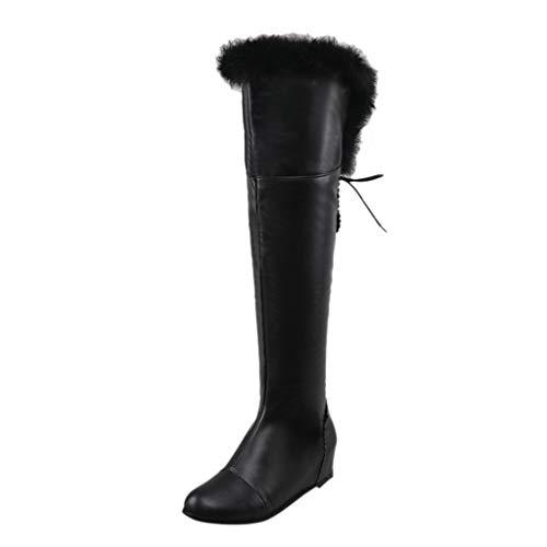 Oksea Stiefel Damen Leder Flach Reißverschluss Overknee Langschaft Stiefel Winter Reitstiefel Casual Elegante Schuhe Fashion Winter Damen Wedges Schuhe Warm Warm Faux Pelz Schneeschuhe Stiefel