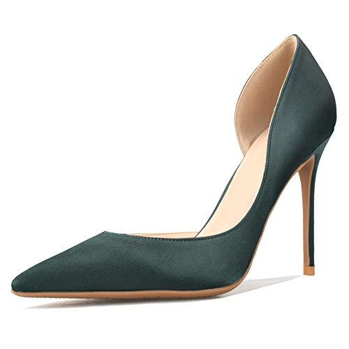Lydee Formal Damen Satin Pumps Stiletto Heels Büro Dress Schuhe Spitze Cocktail Heels Evening Party Schuhe Sizeeen Size 45
