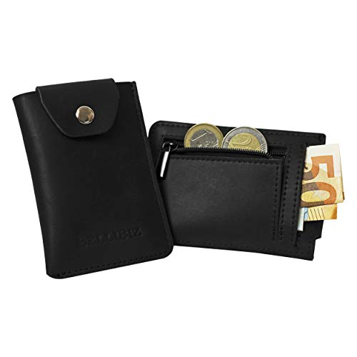 *EINFÜHRUNGSPREIS* Kreditkartenetui Leder Sydney BelliBiz | Mini Portemonnaie für 6 Karten | Slim Wallet mit Münzfach für Damen und Herren | mit Geschenk Box | echtes Leder (schwarz)