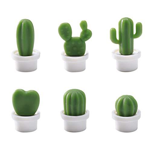 UEB 6pcs Calamite da Frigo a Forma di Cactus in Vaso Magneti per Lavagna e Frigorifero Calamite per Lavagna Magnetica Decorazione della Parete del Soggiorno (Vaso bianco)