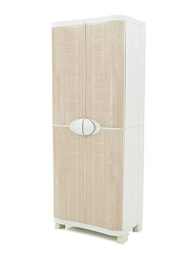 Plastiken Armario SPACE SAVER 70cm ESCOBERO con puertas imitación madera de HAYA (70cm de ancho x 45cm de hondo x 184cm de alto)