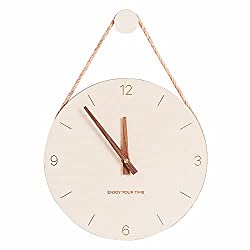 DAWNDEW Wall Clock Wood 10 Inch Silent Wall Clock Decorative Operated Non Ticking Analog Retro Fashion Clock for Living Room/Kitchen/School/Office/Bedroom