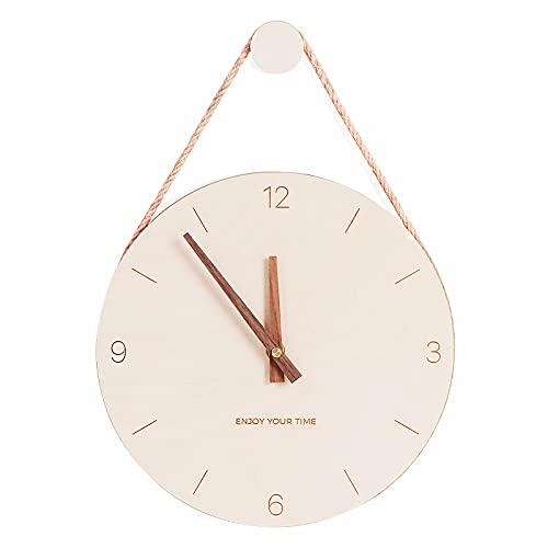 PAPUKA Wanduhr aus Holz, 25,4 cm, geräuschlos, batteriebetrieben, nicht tickend, analog, Retro-Stil, modische Uhr für Wohnzimmer/Küche/Schule/Büro/Schlafzimmer