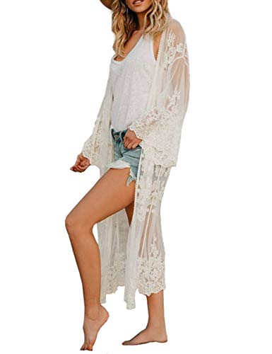 Kimono Beach Cover up Womens Summer Long Embroidered Lace Cardigan Half Sleeves White Blouse (one Size, 1052)