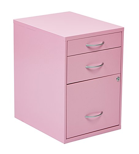 OSP Home Furnishings 3-Drawer Metal File Cabinet, Pink Finish