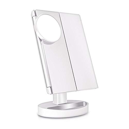 WFQGZ Espejo de Maquillaje 22 luz Espejo de Maquillaje Mesa Escritorio Maquillaje LED Pantalla táctil 1X / 2X / 3X / 10X Lupa tocador 3 Espejo Ajustable Plegable White_Mirror