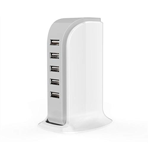 Cargador USB de 5 Puertos Estación de Carga rápida Hub de Viaje de Escritorio Adaptador de Carga Divisor USB para computadora portátil PC - Blanco