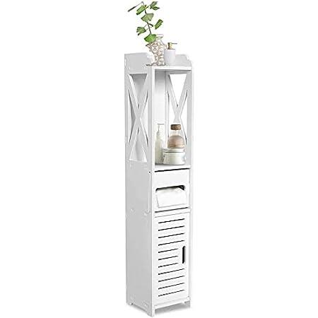 Meuble de Stockage Bois pour Salle de Bain Meuble Colonne Salle de Bain Porte-Papier Toilette 80×15.5×15 CM Blanc