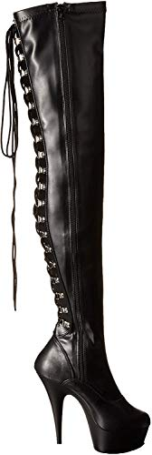 Pleaser Damen DELIGHT-3063 Kurzschaft Stiefel, Schwarz (Schwarz (Blk STR Faux Leather/Blk), 42