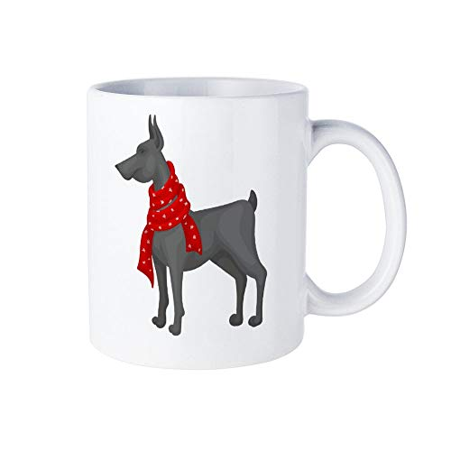 Wendana Grote Grijze Hond Het dragen van Warm Rode Sjaal Huishoudelijke Koffie Mok Novelty Wit Crème Theekop Mok Grappige Mok Thanksgiving Geschenken 11 Oz