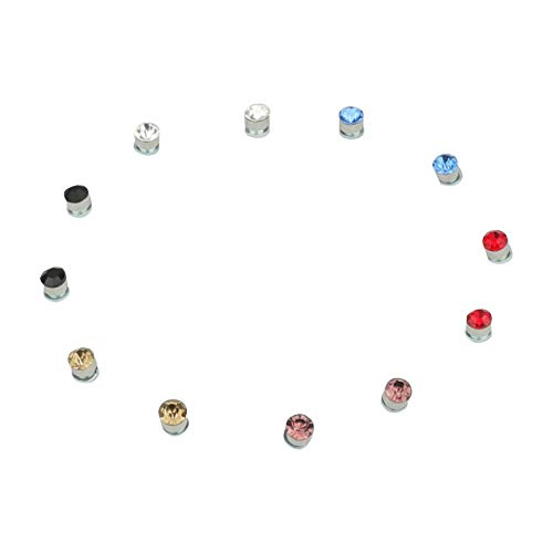 5mm Crystal Magnetic Stud Earring Magnet Nose Ear Lip Stud Non Piercing Tragus Nose Stud 8 Pairs/Pack (8 Pairs Multi)