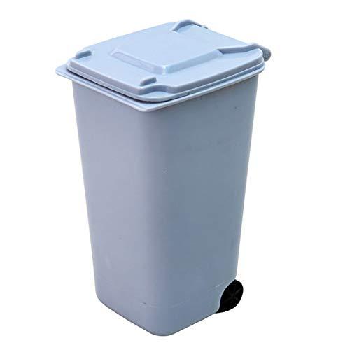 1PC Mini Mülleimer Desktop-Mülleimer mit Deckel Durable Mini Mülltonne Bleistift-Schale-Halter mit Lippen & Rad für Hauptschule-Büro (blau)