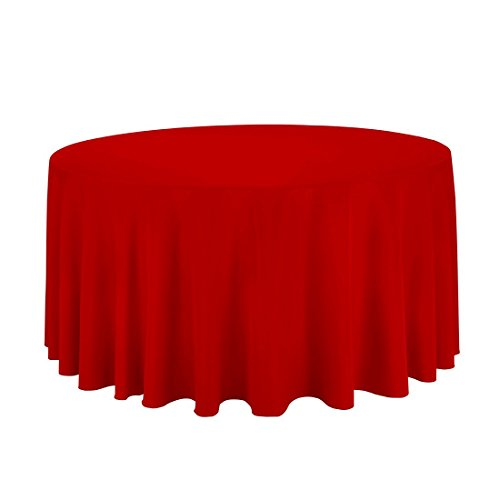 "Gee Di Moda Tablecloth - 120"" Inch Round Tablecloths for Circular Table Cover in Red Washable Polyester - Great for Buffet Table, Parties, Holiday Dinner & More"