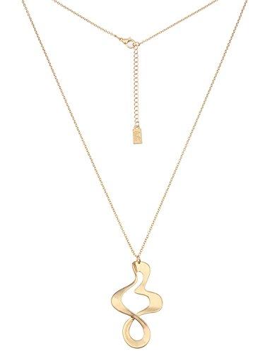 Leslii Damen Kette mit Unendlichkeitszeichen als Anhänger, Lange Halskette Ibiza goldene Modeschmuck-Kette Hochglanz in Gold