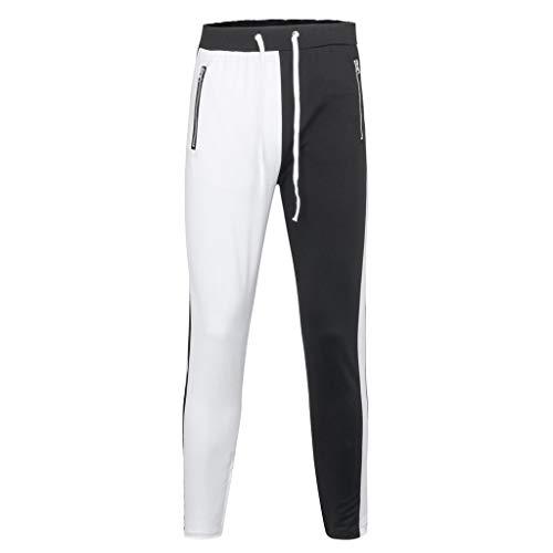 Xmiral Uomo Pantaloni Sportivi per Jogger da Ginnastica Tuta Sottile Bottoms da Jogging Pantaloni da Corsa Cerniere per Patchwork di Strada (M,Bianca)