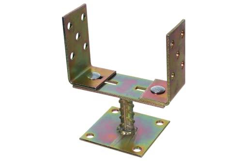 Pfostenträger U-Form mit Schraubplatte verstellbarer Sockel 0-160 mm dicker Stahl 4 mm, verzinkt