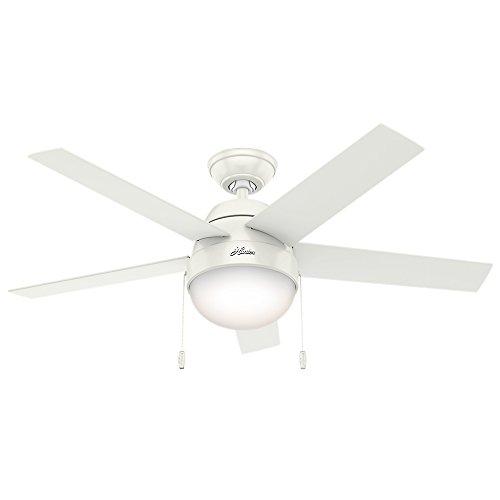 "Hunter Fan Company 59266 Hunter 46"" Anslee Fresh White Ceiling Fan with Light"