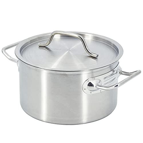 TAIMIKO Pentola per zuppa in acciaio inox 2-3-4-5L con coperchio (3L-18 cm)