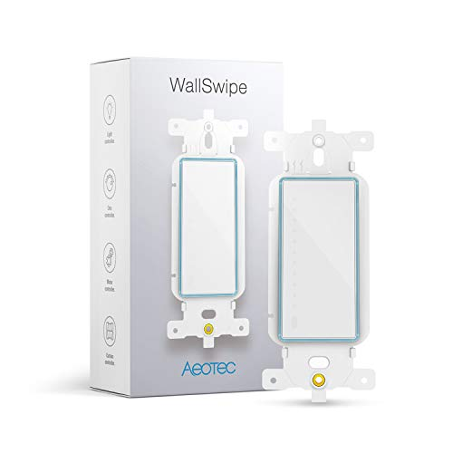 Aeotec WallSwipe, Zwave Switch Wall Panel Controller with Slider for Dimmer Switches, Curtain Blinds, Appliance, built-in PIR sensor to Read Gestures, works with all Nano Range products