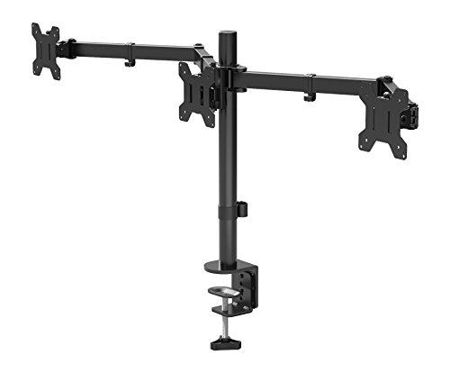 BONTEC Soporte Monitor para 3 Monitores 13-24 Pulgadas LED/LCD Soporte PC Soporte para Mesa, Peso Máximo 10KG de Cada Brazo, Giro de 360° y Rotación de 180°, Altura Ajustable, VESA 75x75/100x100 Negro