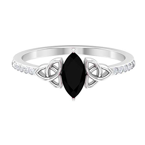 1 CT Celtic Knot Ring with Solitaire Created Black Diamond and Diamond Accent (AAAA Quality), 14K White Gold, Size:US 5.00