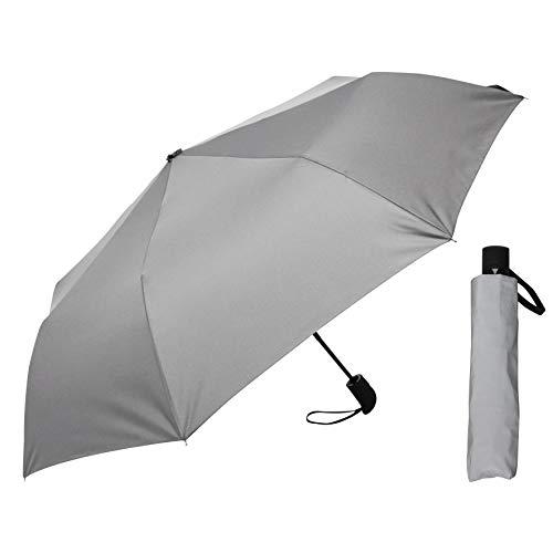 Regenschirm - Vollflächig/komplett reflektierend - Stabiler Automatik-Taschenschirm in Silber-Optik für maximale Sicherheit auf der Straße - Reflective Fold von schirmmacher