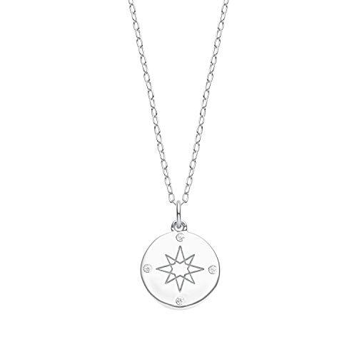 s.Oliver Kette für Damen mit Kompass-Anhänger aus 925 Sterling Silber, Zirkonia weiß, längenverstellbar