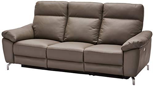 Ibbe Design Grau Leder 3er Sitzer Relaxsofa Couch mit Elektrisch Verstellbar Relaxfunktion Heimkino Sofa Doha mit Fussteil, Federkern, 222x96x101 cm