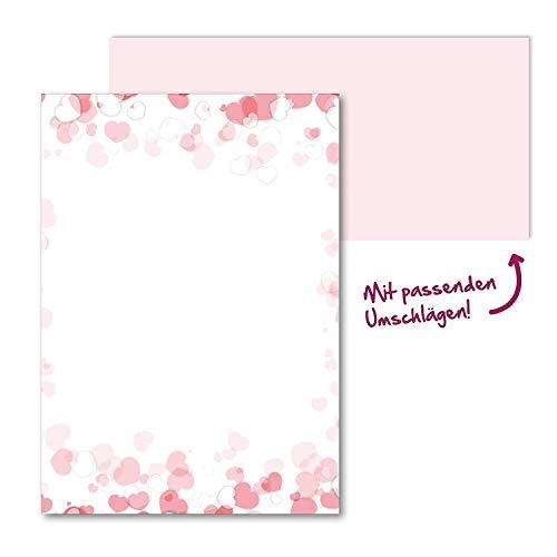 Briefpapier Set romantisch I Briefbögen mit Umschlag I 50 Blatt in DIN A4 I Rosa Herz Motiv-Papier I Liebe Hochzeit Valentinstag Einladung I dv_157