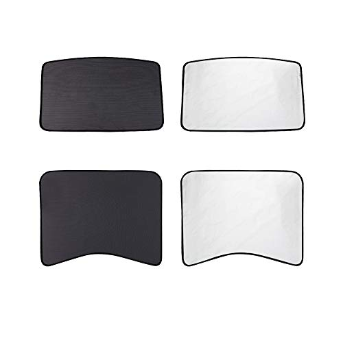 TACHICO Tesla Model 3 Glass Roof Sunshade Sunroof Overhead Roof Mesh Sun Shade,Fit Roof Window Sunshades Compatible for Tesla Model 3(2 of Set,Black)*5 PACK*