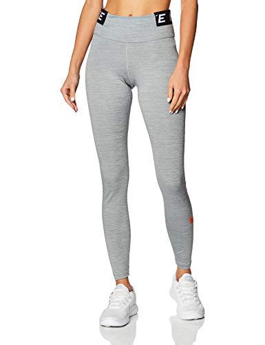 Nike Womens W One Tght Icnclsh Leggings, Iron Grey/Heather/Black/Safety Orange, S