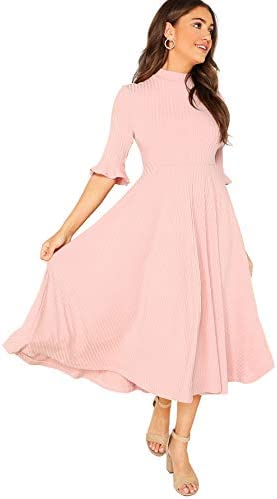 Verdusa Women s Elegant Ribbed Knit Bell Sleeve Fit and Flare Midi Dress Pink S product image