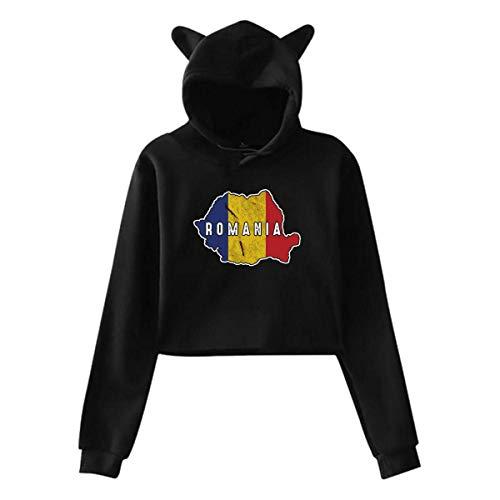 DJNGN Cat Ear Crop Top Pullover Hoodie,Sudadera con Capucha y Top Corto con Orejas de Gato para Mujer, Sudaderas con Capucha de Manga Larga con Lindo Mapa de Rumania, SXXL