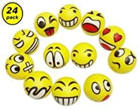 """2.5"""" HappyLife 24pcs Emoji Stress Balls, DIFFERENT PATTERNS EMOJI, Manipulated By the Fingers, Stress Relief, Activates The Muscles For Relaxation"""