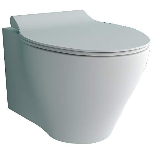 Alpenberger Spülrandloses Tiefspül-WC aus hochwertiger Sanitärkeramik mit Befestigungselemente | Hänge-WC inkl. Quick-Release WC-Deckel mit Soft-Close Absenkautomatik | passend zu GEBERIT
