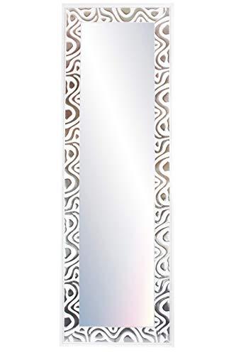 Chely Intermarket, Espejo de Pared Cuerpo Entero 35x140cm (51,50x157cm) Mod-147 (Plateado-Blanco) Ideal para peluquerías, salón, recibidor, Comedor y oficinas. Material Madera.(147-35x140-10,35)