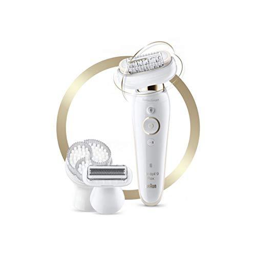 Braun Silk-épil 9 Flex SES 9030 3D - Depiladora para mujeres con cabezal flexible para una depilación más fácil, blanco/dorado