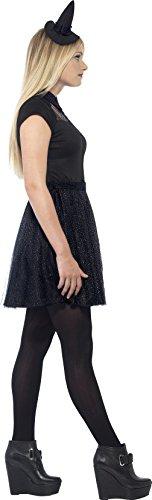 SMIFFYS Smiffy's 44321S - Glitter Witch Costume Nero con Cappello Dress & Mini, S