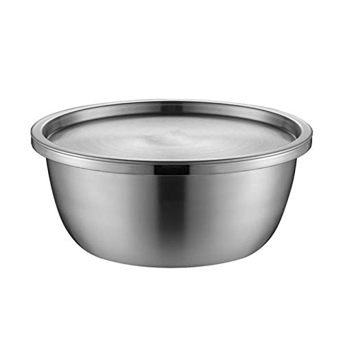 ZHENZEN Stainless metal mixing bowl 304 chrome steel Mixing bowl with lid salad bowl Stackable Multi-function cooking