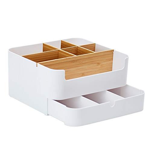 ZEN'S BAMBOO Kosmetik Organizer Multifunktionale Bambus Kosmetische Aufbewahrungsbox Make-up Organizer mit 6 Fächern und 1 Schublade für Cosmetics (7 Cell)