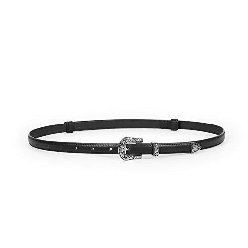 "Adjustable Womens Casual Skinny Belt Fashion Leather Thin Waist Narrow Belt for Dress Jeans Ladies Vintage Sliver Metal Western Buckle Skinny Belt,Black Skinny Leather Belt,Suit Waist Size Below 37"""