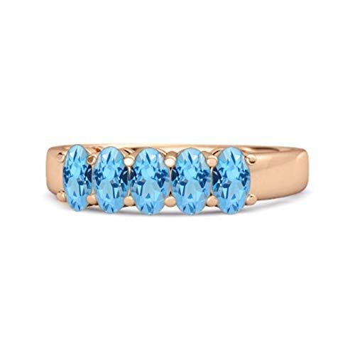 Shine Jewel Multi Elija su Piedra Preciosa Cinco Piedras 1.25 Quilates Media eternidad Anillo de Plata de Ley 925 Chapado en Oro Rosa (16, topacio Azul Suizo)