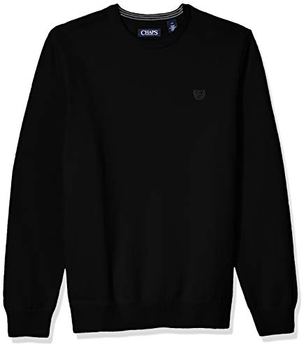 Chaps Men's Classic Fit Cotton Crewneck Sweater, Black, XXL