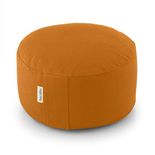 basaho Wheel Zafu Cuscino da Meditazione   Cotone Organico (Certificato GOTS)   Gusci di Grano Saraceno   Rivestimento Lavabile Rimovibile (Mango)