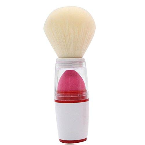 Gespout Pinceau de Maquillage Professionnel pour Visage Double Couche Nylon Poignée en Plastique Fond de Teint Poudre Blush (Blanc)
